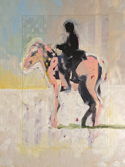 Centaur 4, Mixed Media on Panel,