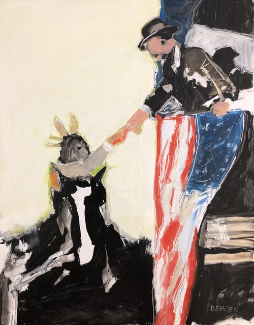 When TR Shook Your Hand He Meant It (Centaur), Oil on Yupo,
