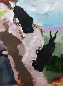 Buffalo Jump, Oil on Canvas,