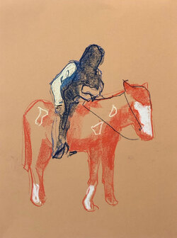 Horse Man 1, Pastel on Paper,