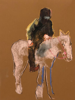 Horse Man 2, Pastel on Paper,