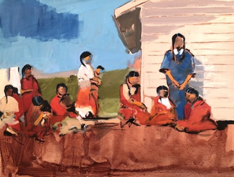 Lakota Women, Oil on Canvas,